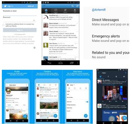 características de Twitter para Android