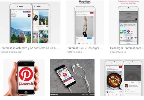 características de Pinterest para iPhone