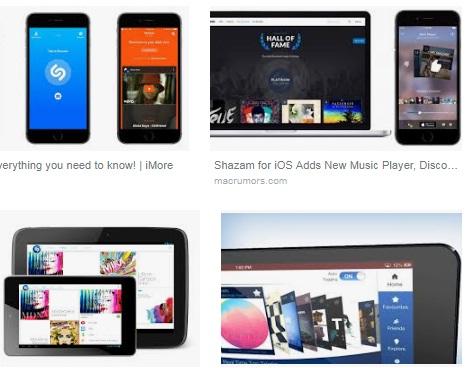 características de Shazam para iPad