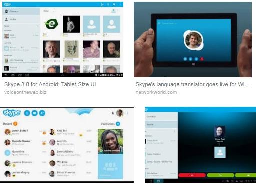 características de Skype para tablet android