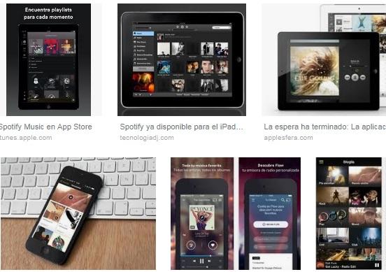 características de Spotify para iPad