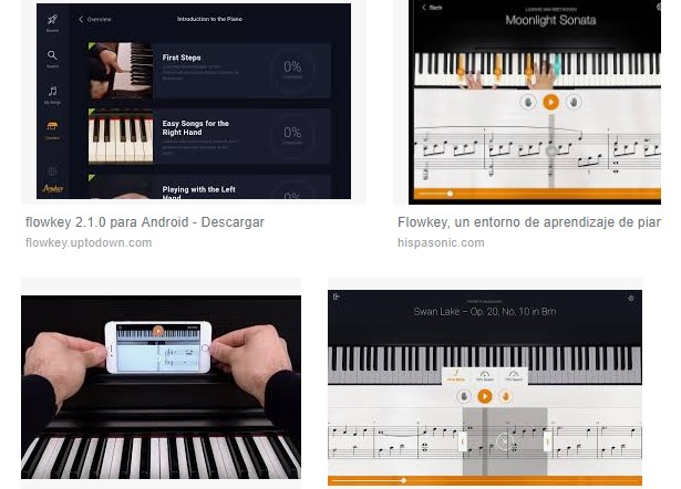 características piano tablet android