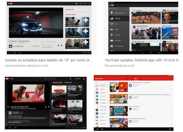 características youtube tablet android
